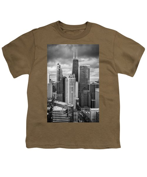 Streeterville From Above Black And White Youth T-Shirt by Adam Romanowicz