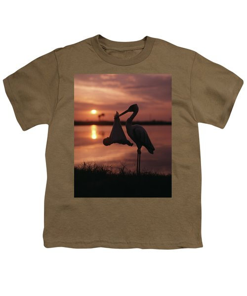 Sunrise Silhouette Of Stork Carrying Youth T-Shirt