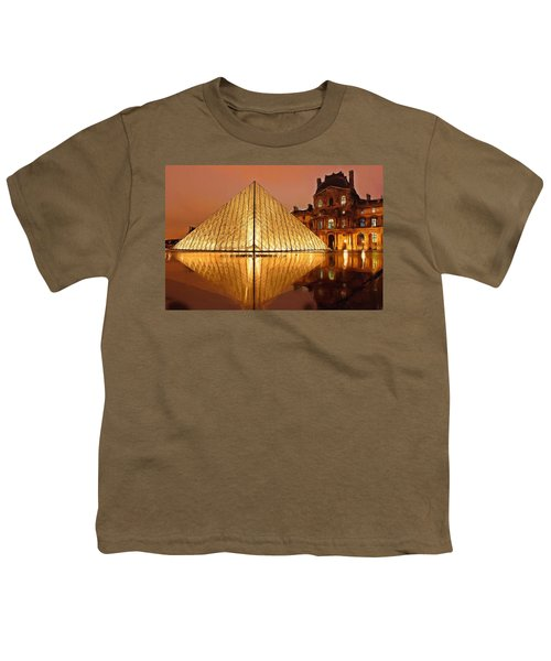 The Louvre By Night Youth T-Shirt by Ayse Deniz