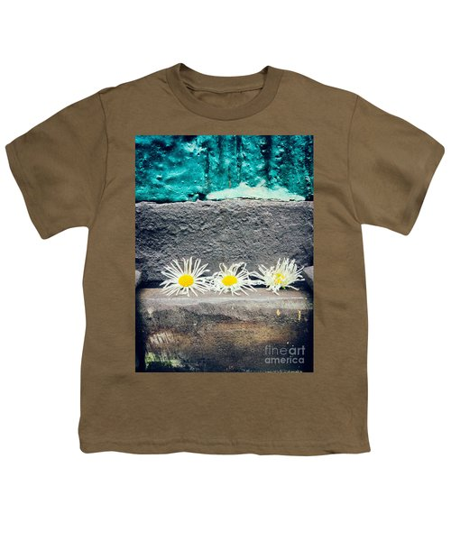 Youth T-Shirt featuring the photograph Three Daisies Stuck In A Door by Silvia Ganora