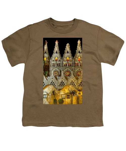 Three Tiers - Sagrada Familia At Night - Gaudi Youth T-Shirt