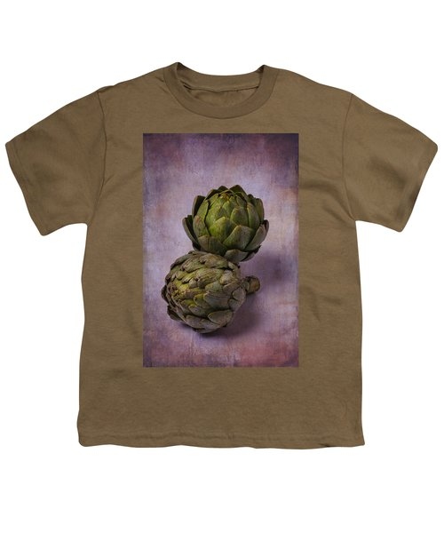 Two Artichokes Youth T-Shirt by Garry Gay