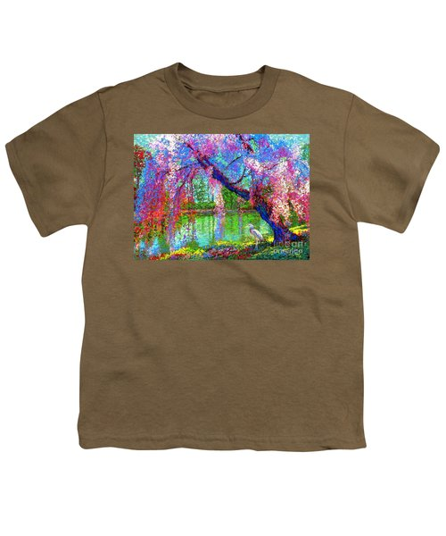 Weeping Beauty, Cherry Blossom Tree And Heron Youth T-Shirt