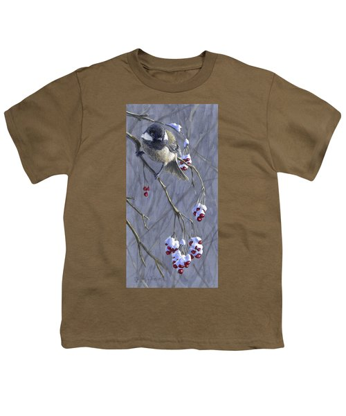 Winter Harvest 1 Chickadee Painting Youth T-Shirt