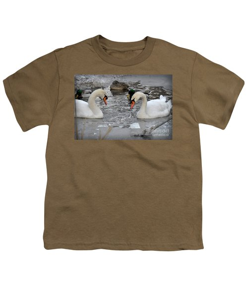 Youth T-Shirt featuring the photograph Winter Swans  by Gary Keesler