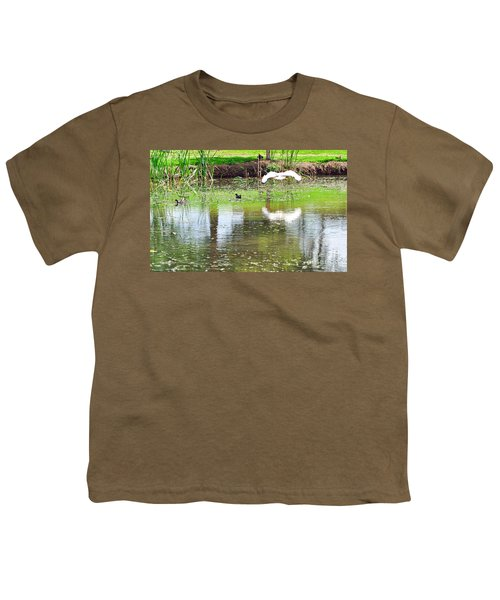 Ibis Over His Reflection Youth T-Shirt