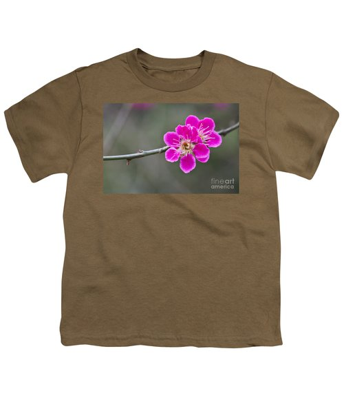 Youth T-Shirt featuring the photograph Japanese Flowering Apricot. by Clare Bambers