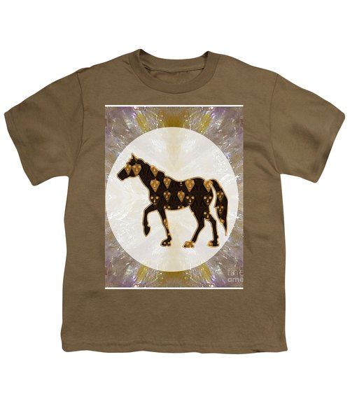 Horse Prancing Abstract Graphic Filled Cartoon Humor Faces Download Option For Personal Commercial  Youth T-Shirt by Navin Joshi