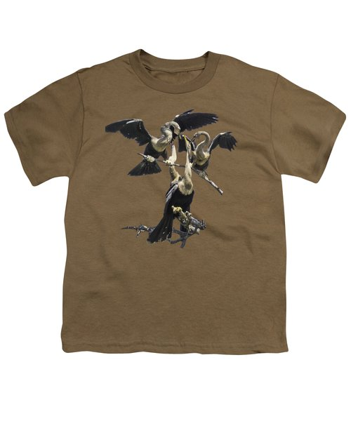 Anhinga Feeding Time Transparency Youth T-Shirt by Richard Goldman