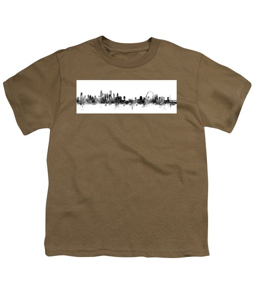 Chicago And St Louis Skyline Mashup Youth T-Shirt by Michael Tompsett