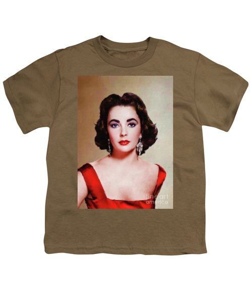 Elizabeth Taylor Hollywood Actress Youth T-Shirt by Mary Bassett