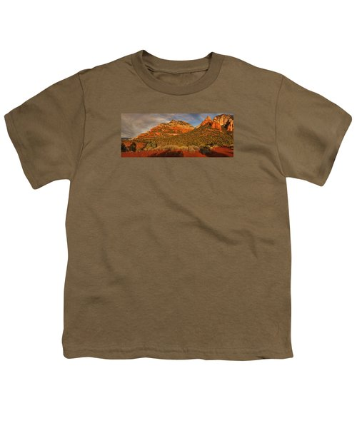 Evening Shadows Pano Txt Youth T-Shirt