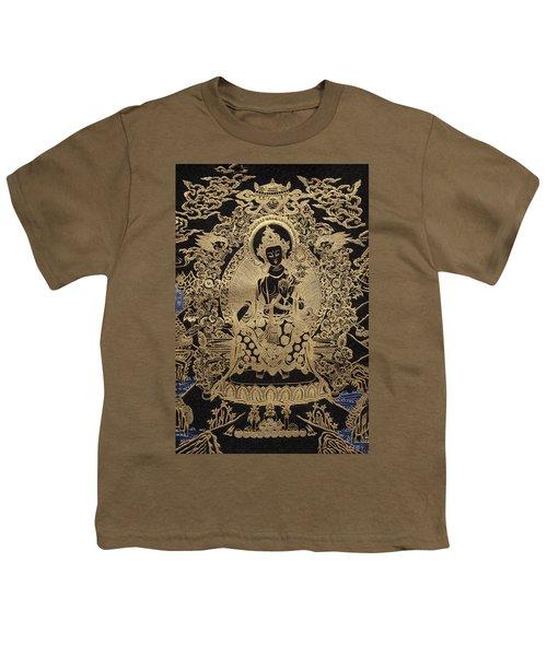 Tibetan Thangka  - Maitreya Buddha Youth T-Shirt by Serge Averbukh