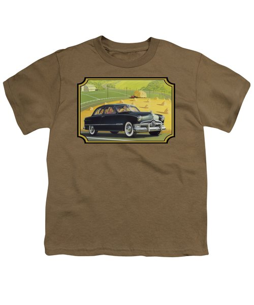 1950 Custom Ford Rustic Rural Country Farm Scene Americana Antique Car Watercolor Painting Youth T-Shirt