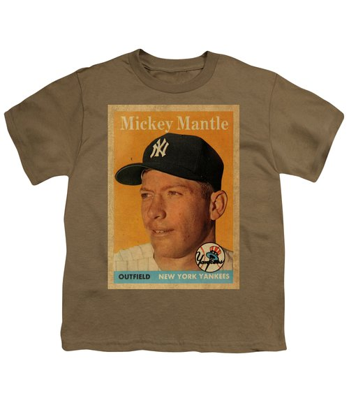 1958 Topps Baseball Mickey Mantle Card Vintage Poster Youth T-Shirt by Design Turnpike