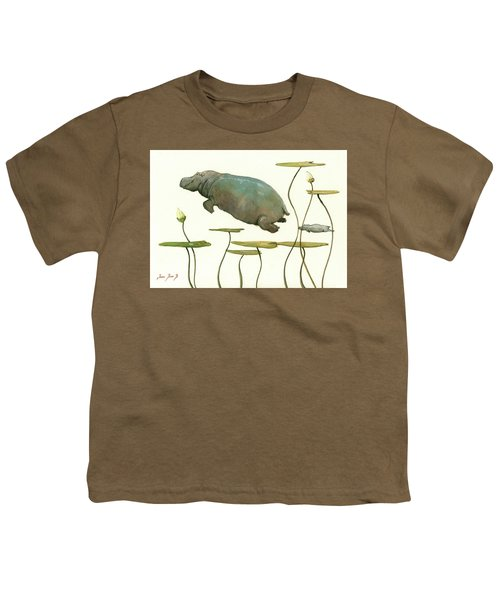 Hippo Mom With Baby Youth T-Shirt