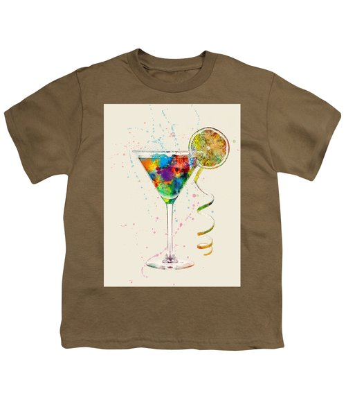 Cocktail Drinks Glass Watercolor Youth T-Shirt