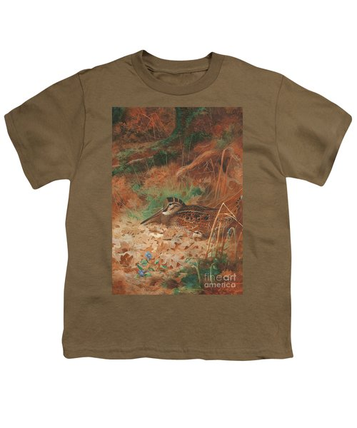 A Woodcock And Chick In Undergrowth Youth T-Shirt by Archibald Thorburn