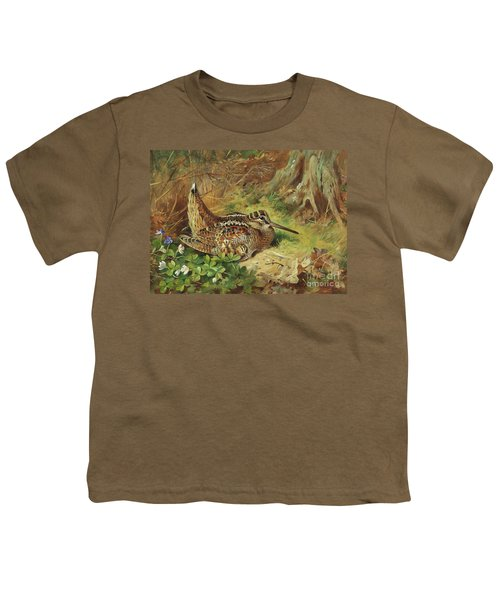 A Woodcock And Chicks Youth T-Shirt by Archibald Thorburn