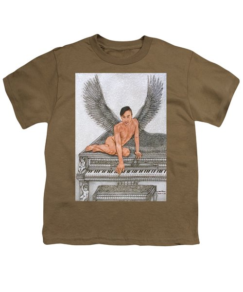 Angel And The Piano Youth T-Shirt by Kent Chua