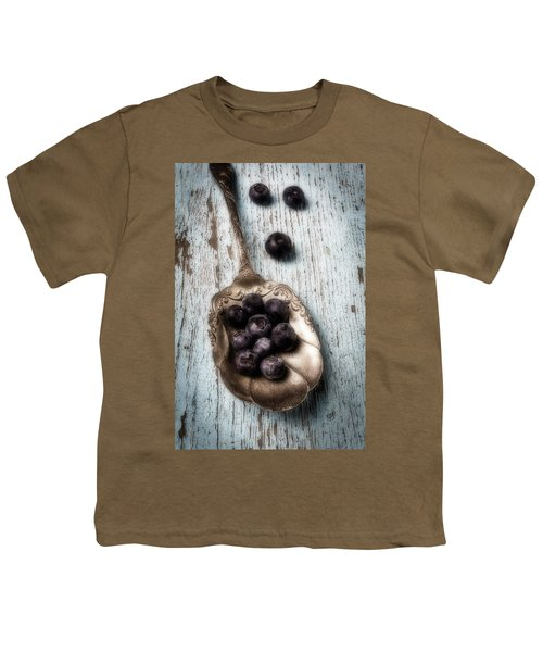 Antique Spoon And Buleberries Youth T-Shirt by Garry Gay