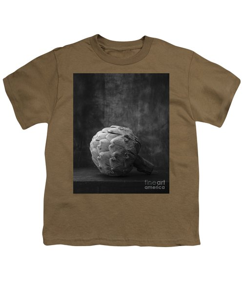Artichoke Black And White Still Life Youth T-Shirt by Edward Fielding