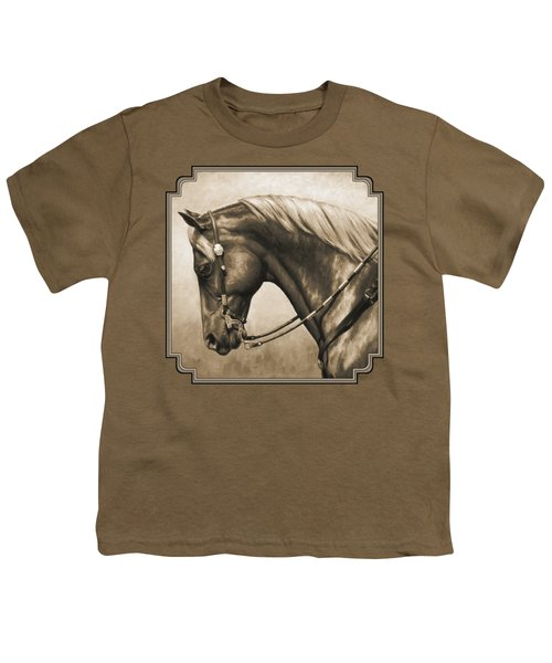 Western Horse Painting In Sepia Youth T-Shirt by Crista Forest