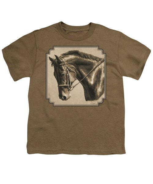 Horse Painting - Focus In Sepia Youth T-Shirt by Crista Forest