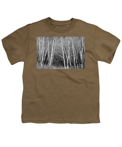 Aspen Forest Black And White Print Youth T-Shirt