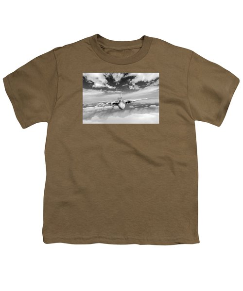 Youth T-Shirt featuring the digital art Avro Vulcan Head On Above Clouds by Gary Eason
