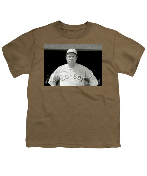 Babe Ruth Red Sox Youth T-Shirt by Jon Neidert