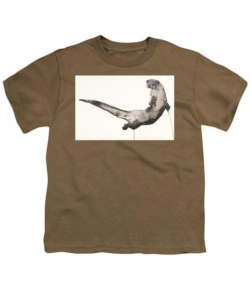 Back Awash   Otter Youth T-Shirt by Mark Adlington