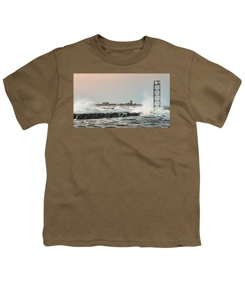 Battering The Shark River Inlet Youth T-Shirt