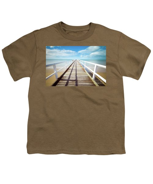 Youth T-Shirt featuring the photograph Beach Walk by MGL Meiklejohn Graphics Licensing