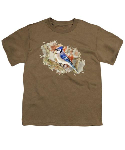 Beautiful Blue Jay - Watercolor Art Youth T-Shirt
