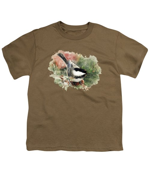 Beautiful Chickadee - Watercolor Art Youth T-Shirt