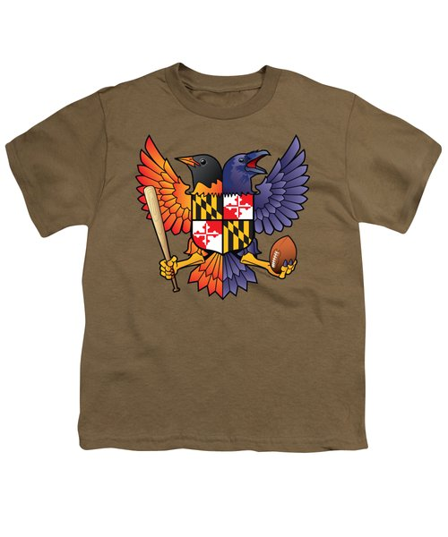 Birdland Baltimore Raven And Oriole Maryland Shield Youth T-Shirt
