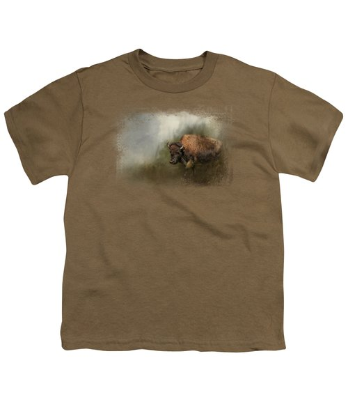 Bison After The Mud Bath Youth T-Shirt by Jai Johnson