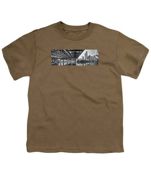 Black And White Panorama Of Downtown Austin Skyline Under The Bridge - Austin Texas  Youth T-Shirt by Silvio Ligutti