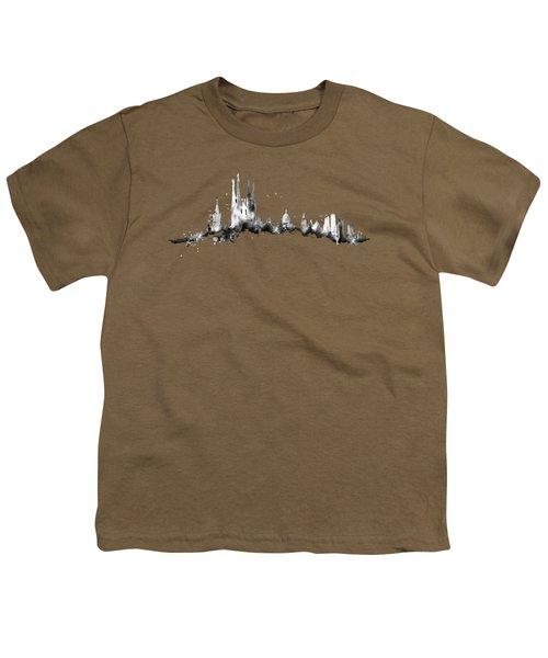 Black Barcelona Skyline Youth T-Shirt by Aloke Creative Store