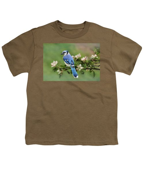 Blue Jay And Blossoms Youth T-Shirt