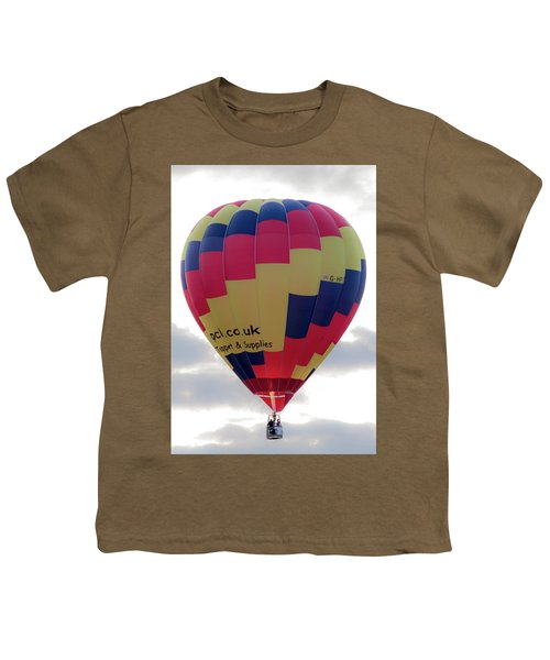 Blue, Red And Yellow Hot Air Balloon Youth T-Shirt
