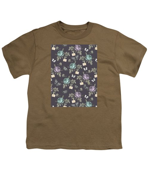 Botanical Roses Youth T-Shirt by Stephanie Davies