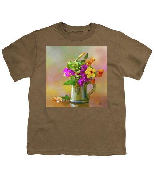 Bougainvilleas In A Green Jar. Youth T-Shirt