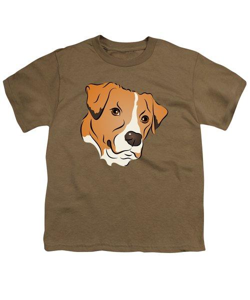 Boxer Mix Dog Graphic Portrait Youth T-Shirt