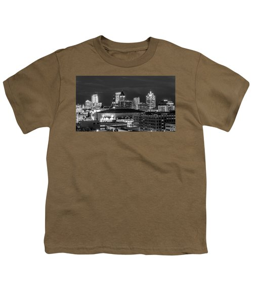 Youth T-Shirt featuring the photograph Brew City At Night by Randy Scherkenbach