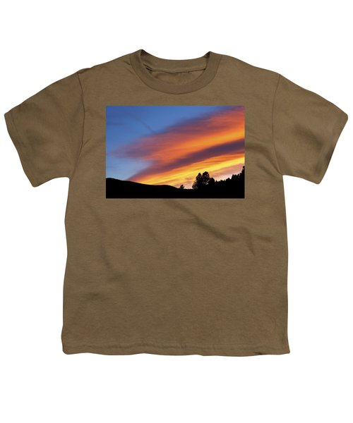 Broncos Sunset Youth T-Shirt by Kristin Davidson