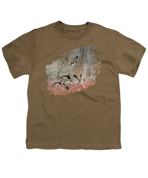 Canada Geese In Flight Youth T-Shirt by Christina Rollo