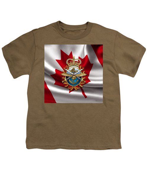 Canadian Forces Emblem Over Flag Youth T-Shirt