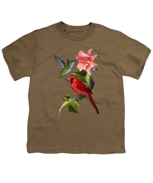 Cardinal On Ivy Branch With Hummingbird And Pink Lily Youth T-Shirt